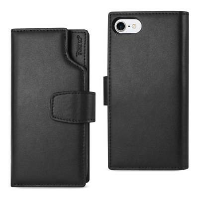Reiko Iphone 7 Genuine Leather Wallet Case With Open Thumb Cut In Black
