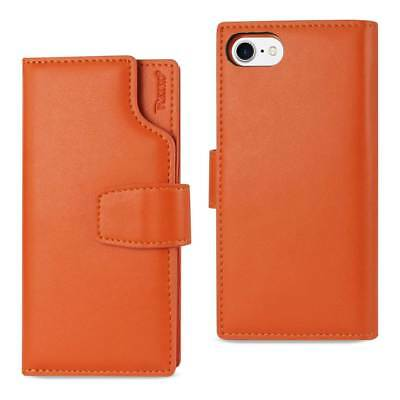 Reiko Iphone 7 Genuine Leather Wallet Case With Open Thumb Cut In Tangerine