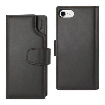 Reiko Iphone 7 Genuine Leather Wallet Case With Open Thumb Cut In Umber