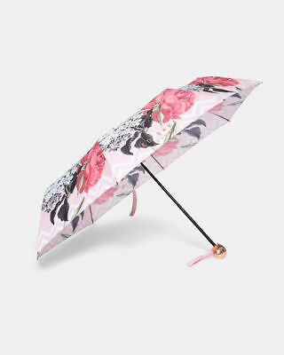 Ted Baker Beautiful New Palace Gardens Pink Floral Umbrella Current Season Bnwt