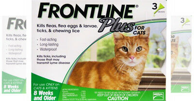 New Frontline Plus For Cats 8 Weeks & Older & Over 1.5Lbs 3 Doses Fast Acting