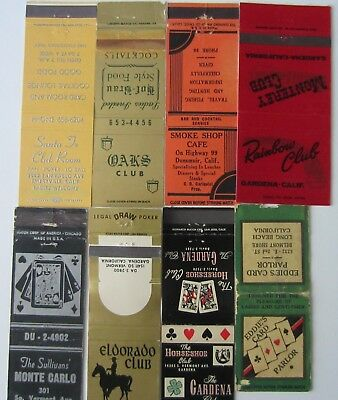 8 Different Casino Card Room Club Poker  Matchbook Covers