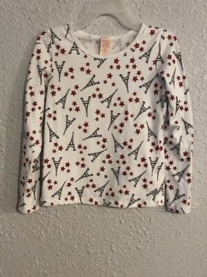 Faded Glory Girls Shirt Size L 10-12 Long Sleeve Red White Blue Stars Towers