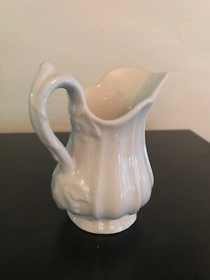 Antique Childs Toy White Tea Set Ironstone Ribbed Pitcher