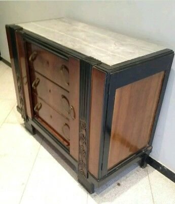 RARE French Art Deco Chest drawers Bedroom Cabinet Mahogany & Ebony 1930s
