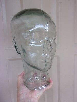 Green Tint Glass Head Mannequin Hat Wig Display Stand Life Size