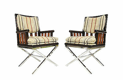 """Pair of Bernhardt Flair Wood & Chrome """"X"""" Base Campaign Style Arm Chairs"""