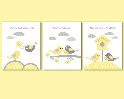 3 prints, gender neutral nursery, First we had each other quote, yellow and grey