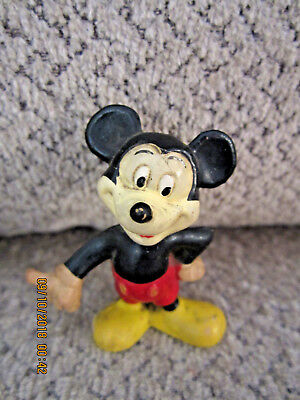 """Vintage Mickey Mouse figurine rubber 2"""" collectible"""