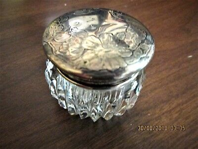 EARLY 20th century  VANITY JAR CUT GLASS & STERLING MARKED LID ENGRAVED 1 7/8""