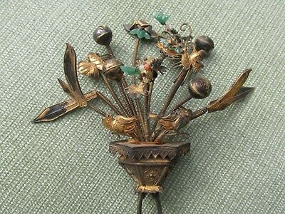 Finest ANTIQUE CHINESE Trembler HAIR Pin Fish Bugs Birds Jade Coral Flora Rattle