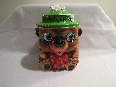 Vintage Teddy Bear Cookie Jar with Green Daisy Hat and Red Bow Tie Made in Japan