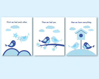 Set of 3 prints, blue art for baby boy's nursery decor with quote, birds family