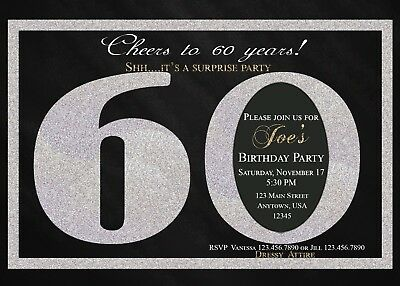 60th Birthday Invitation Invitations Black And Silver