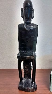 Vintage Hand Carved Wood Statue, Bearded Man