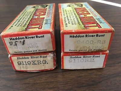 Lot of Four Vintage Heddon River Runt Lure Boxes, Runt ID Tag, mini-catalog