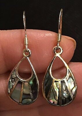 Beautiful Pair of Vintage Sterling Silver with Abalone Inlay Dangle Earrings