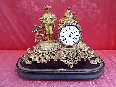 Beautiful, Antique Fireplace Clock __Pendule__ Metal__ with Wooden Base