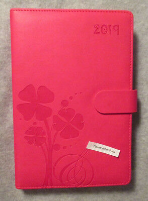 2019 PINK Flowers 8.5X6 DIARY HOURLY WEEKLY Appointment BOOK Clasp DESK PLANNER