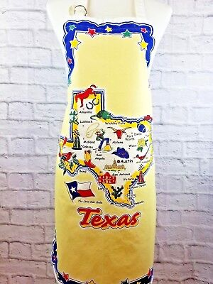 Kay Dee Texas State Map Apron Full Length Cooking Apron Yellow Vintage Theme