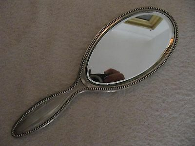 beautiful antique french sterling silver face hand mirror lines & pearls