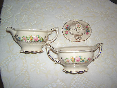 Vintage Edwin Knowles Pink Flowered Creamer & Sugar Bowl Puritan