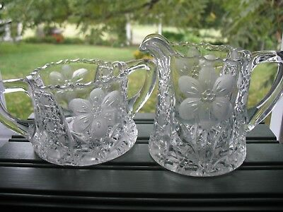Antique 1916 EAPG Cut Crystal Creamer and Sugar McKee INNOVATION Early American