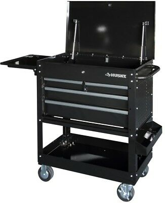 Husky 3304 Mechanics Cart with Extended Side Table and Bottle Tray