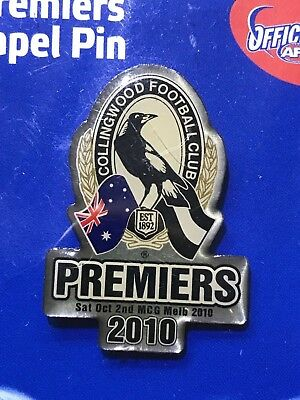 Collingwood  Magpies Premiers pin 2010 AFL