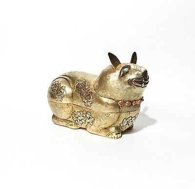 Vintage Boun Than Cambodian Gilt 900 Silver Cat Betel Nut Box Turquoise & Coral