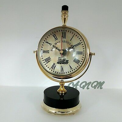 Brass Big Desk Clock Collectible Office And Home Desktop Decorative