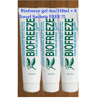 BIOFREEZE GEL 4oz/118ml x3 (TRIPLE PACK)+8 Travel Sachets free,Pain Reliefe