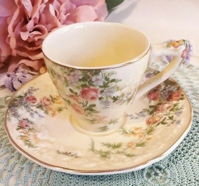 Crown Ducal Florentine Vintage 1930's China Coffee Cup & Saucer Cream Floral