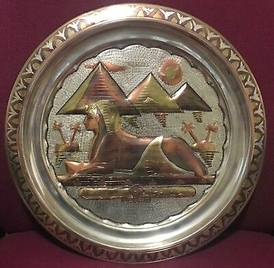 Hand made in Egypt crafted Copper plate of Pyramids & Great Sphinx of Giza