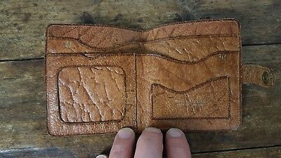 VINTAGE 1960s ENGLISH MADE TAN BROWN BIFOLD LEATHER WALLET WITH CLASP PIGSKIN