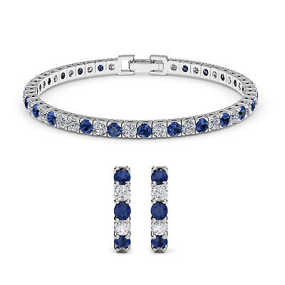 CZ Cubic Zirconia Sapphire Huggie Earrings Tennis Bracelet JewelrySet 7""