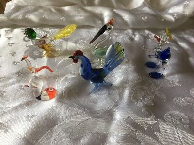 Collection Of Hand Blown Glass Birds Vintage