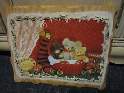 Tasmanian Pine Teddy Bear Picture Ready To Hang ***must See***