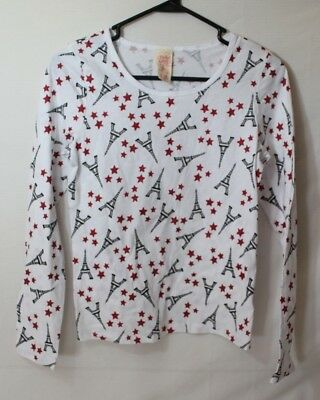 Faded Glory Girls Long Sleeve Shirt Size XL 14/16 Eiffel Tower Stars White Red