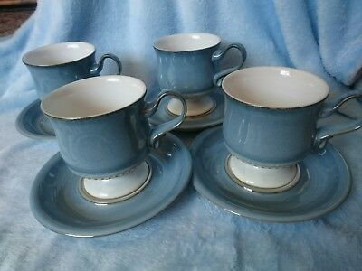 Denby Stoneware Castile Blue Coffee Tea Cups And Saucers