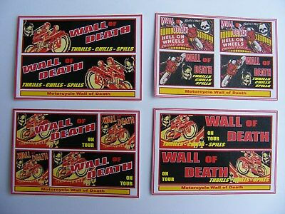 'WALL of DEATH' FUN FAIR STICKERS – 4 MINI SHEETS
