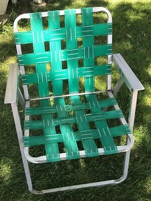 Single Vintage Retro Aluminum Outdoor Lawn Folding Chair Green Webbing