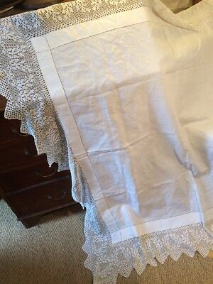 Edwardian Deep Hand Crochet Tablecloth. Good. Strong. 54 Ins Square