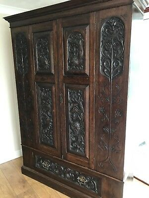 Stunning Antique Vintage Carved Wooden Wardrobe