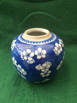 Antique Chinese blue and white Prunus decorated jar  (5.25 inches) (A)