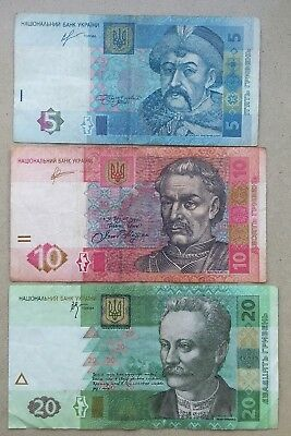 Lot of 3 UKRAINE Banknotes 5, 10 & 20 Hrivny VG Condition Combined Shipping!