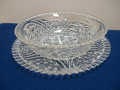 Elerant Vintage Glass Salad / Fruit Bowl With Plate / Tray