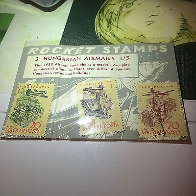 SCARCE OLD ROCKET STAMPS HUNGRY  AIR MAILS UNOPENED PACK FROM YEARS AGO 50s/60s