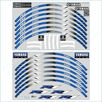 YAMAHA R1 Racing Equipment Bike Wheel Rim Blue Laminated Stripes Decals Stickers