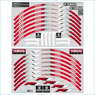 YAMAHA R1 Racing Equipment Bike Wheel Rim Red Laminated Stripes Decals Stickers